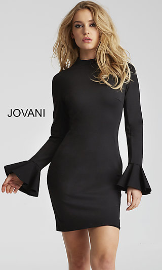 Mock-Neck Homecoming Dress with Sleeves