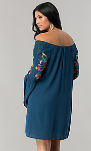 Image of off-the-shoulder casual shift dress with sleeves. Style: AS-A7821112 Back Image