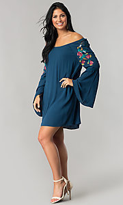 Image of off-the-shoulder casual shift dress with sleeves. Style: AS-A7821112 Detail Image 1