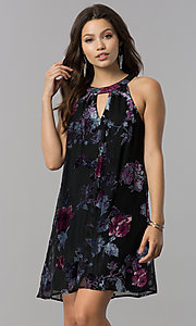 Image of short shift black party dress with velvet print. Style: AS-A770504A60 Front Image