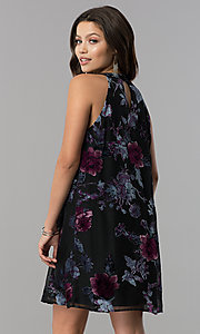 Image of short shift black party dress with velvet print. Style: AS-A770504A60 Back Image