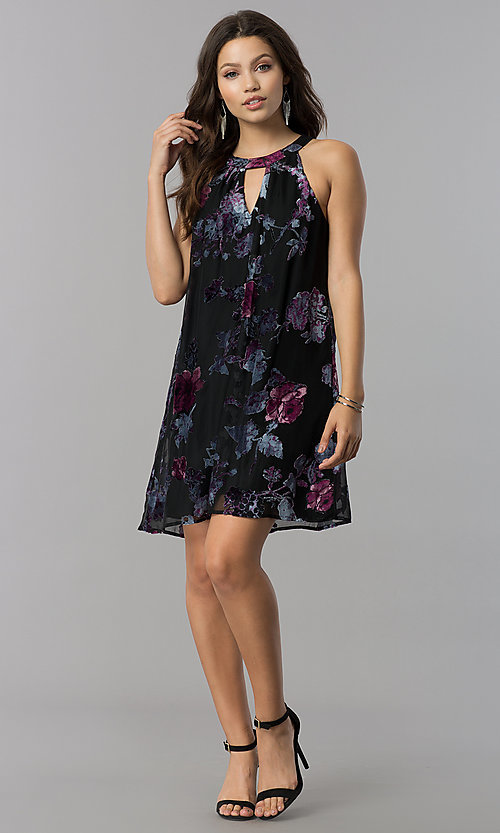 Image of short shift black party dress with velvet print. Style: AS-A770504A60 Detail Image 1