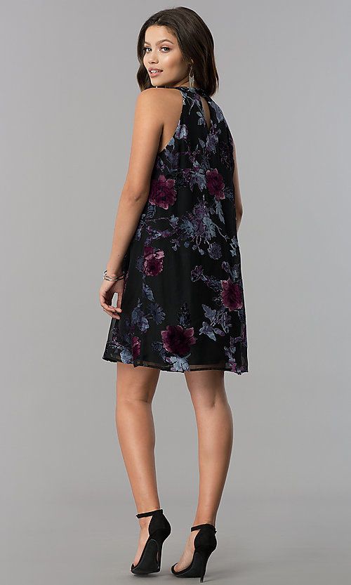 Image of short shift black party dress with velvet print. Style: AS-A770504A60 Detail Image 2