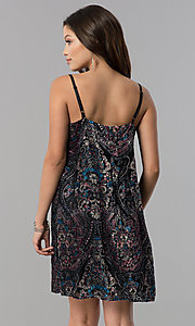 Image of adjustable-strap short shift print black party dress. Style: AS-A770904A64 Back Image