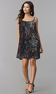 Image of adjustable-strap short shift print black party dress. Style: AS-A770904A64 Detail Image 1