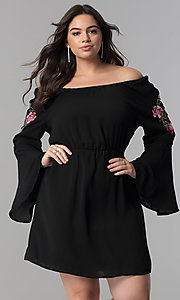 Off-the-Shoulder Long Bell-Sleeve Party Dress