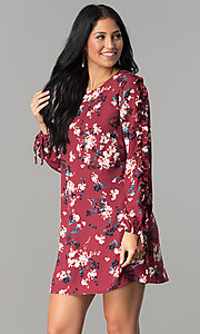 Long Sleeve Casual Print Short Dress
