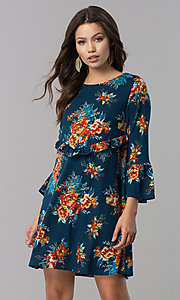 Short Floral Print Casual Party Dress with Sleeves