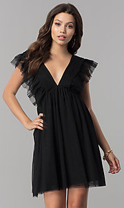 Image of short black empire-waist holiday party dress with ruffles. Style: AS-L3734445 Front Image