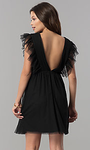 Image of short black empire-waist holiday party dress with ruffles. Style: AS-L3734445 Back Image