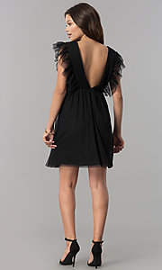 Image of short black empire-waist holiday party dress with ruffles. Style: AS-L3734445 Detail Image 2