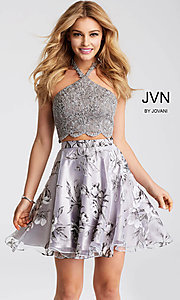 Two-Piece Grey Print Halter Homecoming Dress