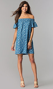 Image of off-shoulder short blue casual dress with ivory print. Style: AS-I737697A13 Detail Image 2