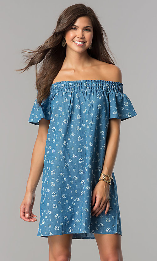 Image of off-shoulder short blue casual dress with ivory print. Style: AS-I737697A13 Front Image