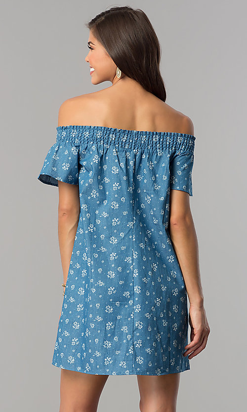Image of off-shoulder short blue casual dress with ivory print. Style: AS-I737697A13 Back Image