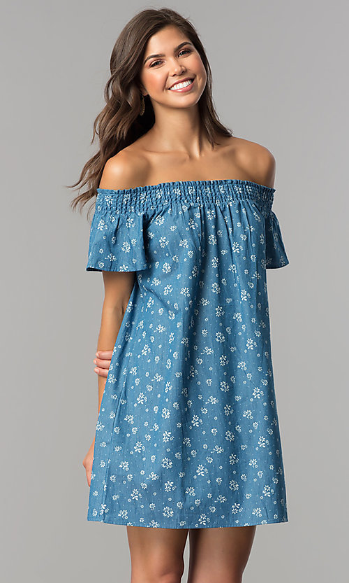 Image of off-shoulder short blue casual dress with ivory print. Style: AS-I737697A13 Detail Image 1