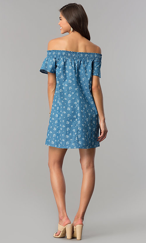 Image of off-shoulder short blue casual dress with ivory print. Style: AS-I737697A13 Detail Image 3