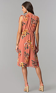 Image of v-neck mock-wrap short casual print dress with ties. Style: AS-I7421D95C99 Detail Image 2