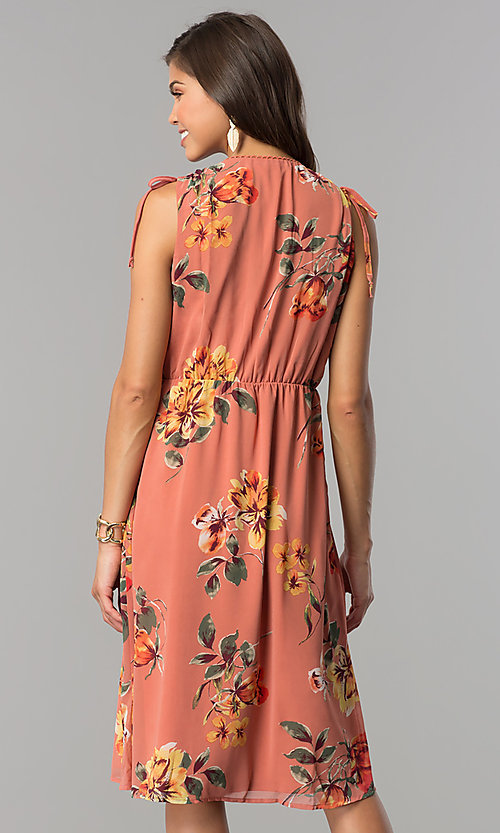 Image of v-neck mock-wrap short casual print dress with ties. Style: AS-I7421D95C99 Back Image