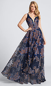 Embroidered Lace V-Neck Navy Blue Formal Dress