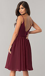 Image of sangria red knee-length chiffon homecoming dress. Style: NM-BM-1503S Back Image