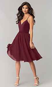 Image of sangria red knee-length chiffon homecoming dress. Style: NM-BM-1503S Detail Image 1