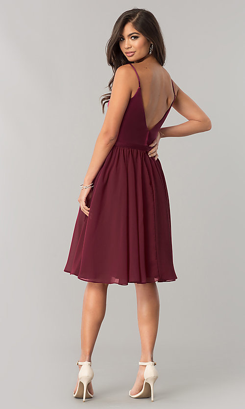Image of sangria red knee-length chiffon homecoming dress. Style: NM-BM-1503S Detail Image 2