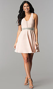 Image of v-neck junior-size short party dress in blush pink. Style: DMO-J318007 Detail Image 3