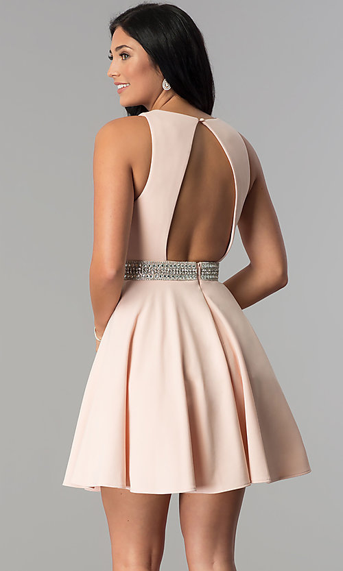 Image of v-neck junior-size short party dress in blush pink. Style: DMO-J318007 Back Image