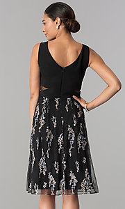 Image of knee-length black party dress with embroidered skirt. Style: SD-S278093 Back Image