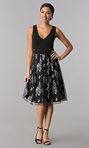 Image of knee-length black party dress with embroidered skirt. Style: SD-S278093 Detail Image 2