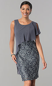 Short Grey Lace Dress with Asymmetrical Popover