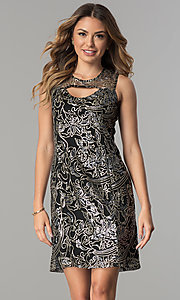 Image of short shift sequined-mesh party dress. Style: SD-S278743 Front Image