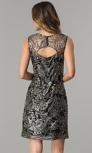 Image of short shift sequined-mesh party dress. Style: SD-S278743 Back Image