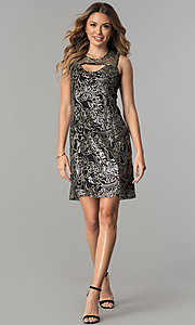 Image of short shift sequined-mesh party dress. Style: SD-S278743 Detail Image 2