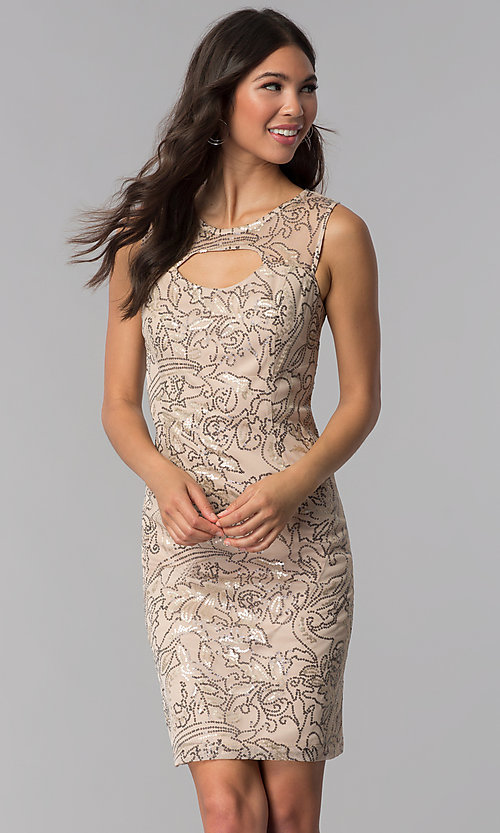 Image of short sheath sequined-mesh party dress. Style: SD-S278743 Front Image