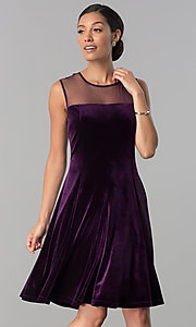 Image of eggplant purple short velvet wedding-guest dress. Style: SD-S273412 Front Image