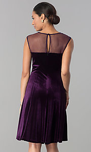 Image of eggplant purple short velvet wedding-guest dress. Style: SD-S273412 Back Image