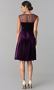 Image of eggplant purple short velvet wedding-guest dress. Style: SD-S273412 Detail Image 2