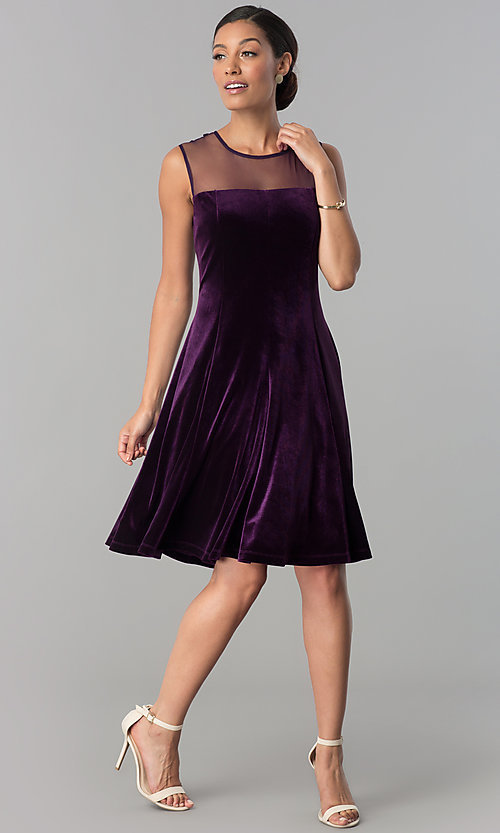 Image of eggplant purple short velvet wedding-guest dress. Style: SD-S273412 Detail Image 1