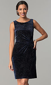 Glitter-Velvet Blue Knee-Length Party Dress
