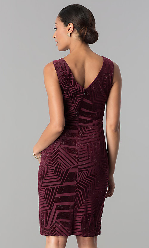 Image of berry red short velvet party dress with glitter. Style: SD-S277617 Back Image