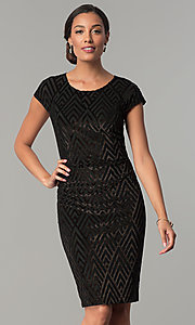 Sleeved Short Glitter-Print Black Velvet Party Dress