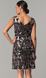 Image of short black shift wedding-guest sequin party dress. Style: SD-S285180 Back Image
