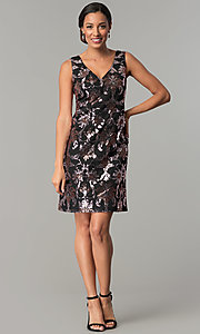 Image of short black shift wedding-guest sequin party dress. Style: SD-S285180 Detail Image 3