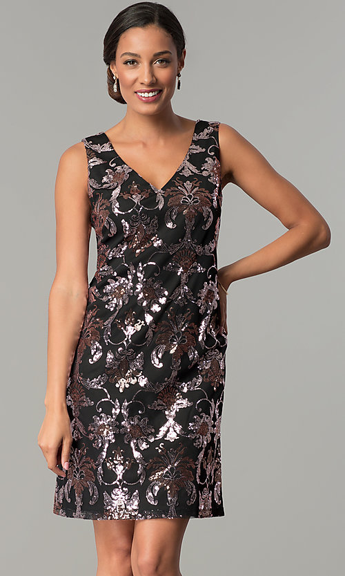 Image of short black shift wedding-guest sequin party dress. Style: SD-S285180 Front Image