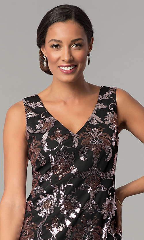 Image of short black shift wedding-guest sequin party dress. Style: SD-S285180 Detail Image 1
