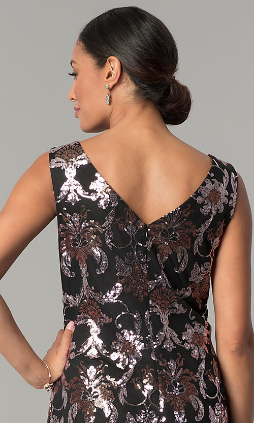 Image of short black shift wedding-guest sequin party dress. Style: SD-S285180 Detail Image 2