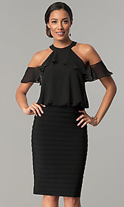 Chiffon Cold-Shoulder Short Jersey Black Party Dress