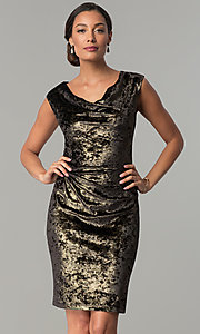 Short Black and Gold Glitter-Velvet Party Dress